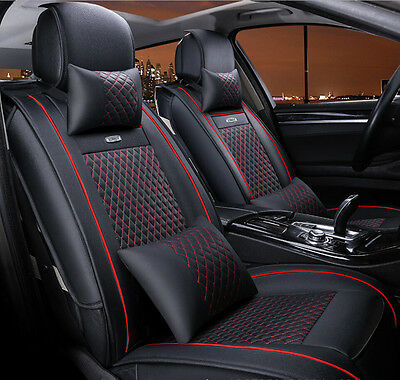 Universal PU leather Car Seat Covers Front Pair Set Needlework 6pcs Black+Red