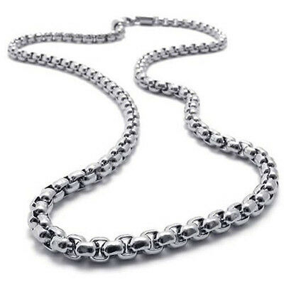 "Men's 2MM Silver 20"" Stainless Steel Pearl Box Chain Necklace Fashion Pendant"