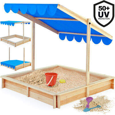 Sandbox 120x120cm - Sand Pit with adjustable Roof - Outdoor Games Sunshade