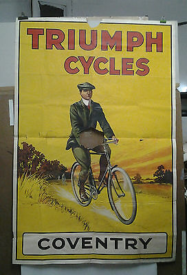 Affiche Originale Ancienne Cycles Triomph Coventry London Londres Liverpool