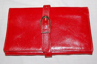 Vintage Red Fine Calf Skin Leather Women's Lady Wallet Italy