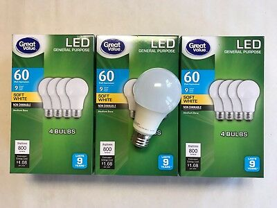 12 PACK LED 60W = 9W Soft White 60 Watt Equivalent A19 2700K E26 light bulb