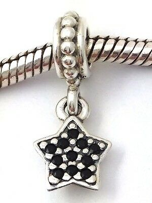 authentic pandora sterling silver pave star black crystal charm 791024nck new authentic black crystal