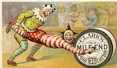 Antique Old Circus Clown Clark's Spool Thread Sewing Advertise Card Print