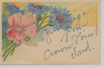 Crown Point Indiana Greetings From flowers glittered antique pc Z18019