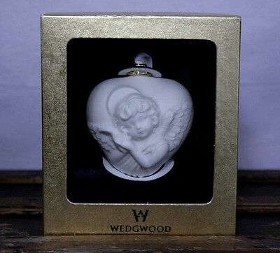 Wedgwood Puffed White Heart with Cherub Christmas Angel Ornament Bisque Boxed