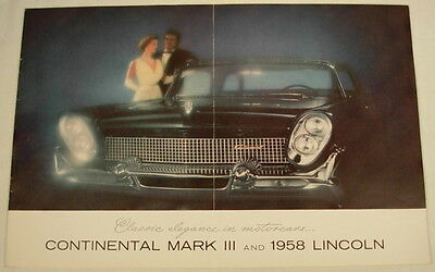 Continental Mark Iii 1958 Lincoln Advertising Sales Brochure