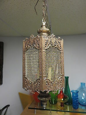 Vintage Very Ornate Ceiling Hanging Light Chandelier Hollywood Regency