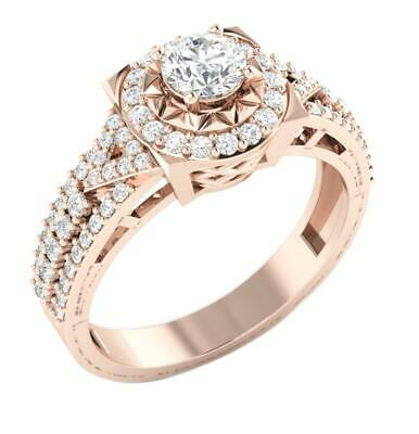 Genuine Diamond Solitaire Halo Engagement Ring SI1 G 1.00 Ct Rose Gold Appraisal