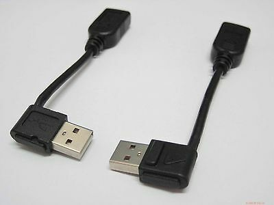 Pair 90 degree left Right angle USB 2.0 Cord Cable type A male female 10 ~13 cm