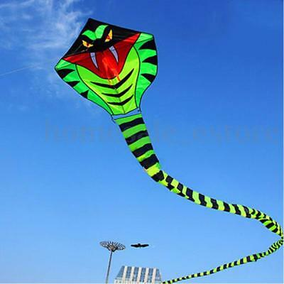 NEW 15m Power Cyan Cobra Snake Kite Outdoor Fun Sports easy to fly Children Toys
