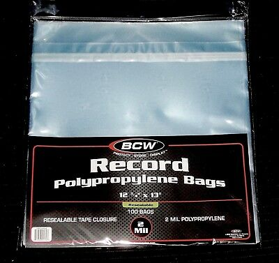 """100 RESEALABLE LP OUTER SLEEVES High Quality Clear 12"""" Vinyl Record Album Covers"""