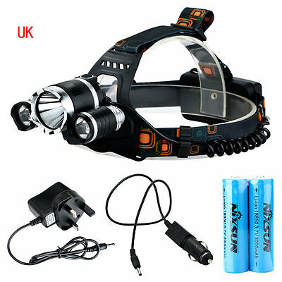 6000Lm CREE XM-L T6 + 2R5 LED Rechargeable Headlamp Headlight Head Torch UK #L9