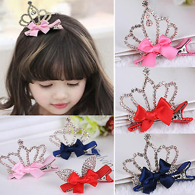 NT Baby Girls Kids Children Shiny Crown Princess Rabbit Ears Crystal Hair Clips