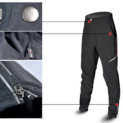 Cycling Pants Bike Bicycle Men's Long Pants Reflective Riding Trousers Black