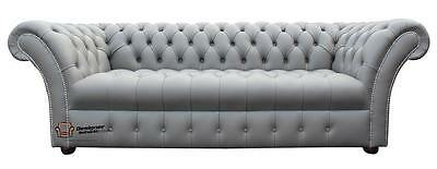 Chesterfield Balmoral 3 Seater Buttoned Seat Silver Grey Sofa Settee SS