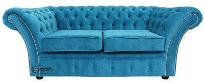 Chesterfield Balmoral 2 Seater Danza Teal Blue Fabric Sofa Settee SS