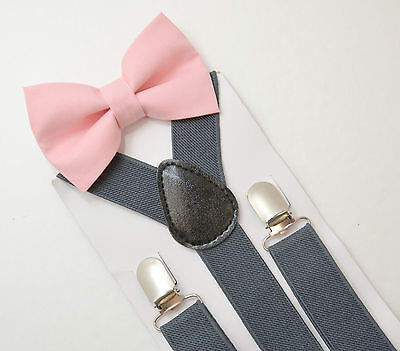 Kids Boys Mens Charcoal Gray Suspenders & Blush Pink Bow tie SET 6mon- ADULT