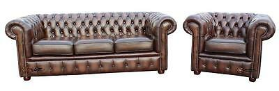 Chesterfield London 3 Seater + Club Antique Brown Leather Sofa Settee Suite