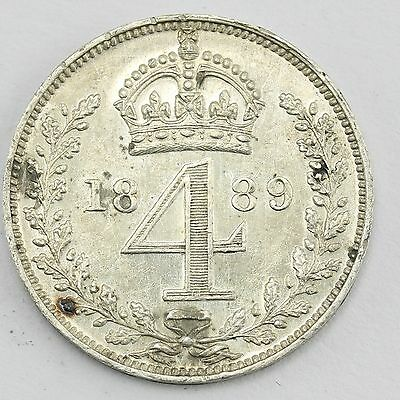 1889 Queen Victoria Maundy 4d Fourpence Coin C3