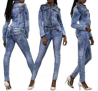 New Sexy Women's Denim Jeans Jumpsuit Blue Overall Skinny Legs Jeans Size 6-14