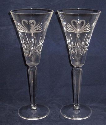 Waterford Crystal Wedding Collection Swan Pair Of Toasting Champagne Flutes