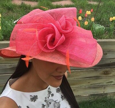 Ladies Women's Kentucky Derby Easter Pink Sinamay Hat