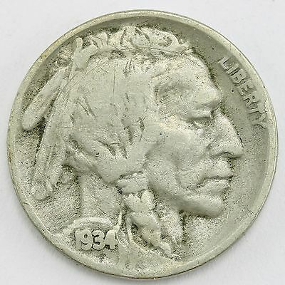 US Indian head Buffalo Nickel five-cent piece 1934