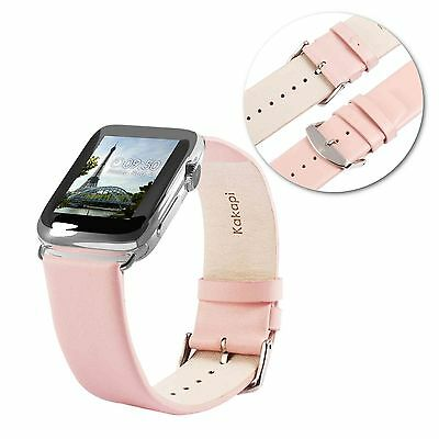Tuff-Luv Genuine Leather Wrist Strap Band for Apple Watch 1 / 2 Strap -42mm-Pink