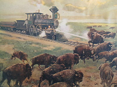 Antique 1902 St Louis  Newspaper Print Small Poster Northern Pacific Rr Buffaloe