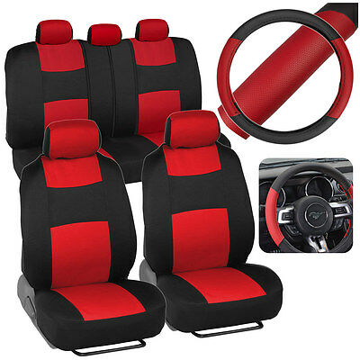Red Black Car Seat Covers W Split Bench 2 Tone Steering Wheel Cover