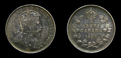 Canada 1907 Silver 5 Five Cents King Edward VII Toned AU-50