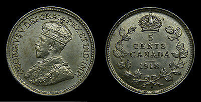 Canada 1918 Silver 5 Five Cents King George V AU-58