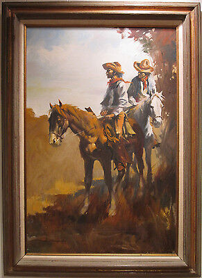 Vintage Western American Cowboys Desperados Morcos Listed Lrg Fine Oil Painting
