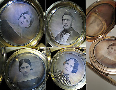 Antique Daguerreotypes Old Quad Gold Locket American Girls Beauty Jewelry Photos