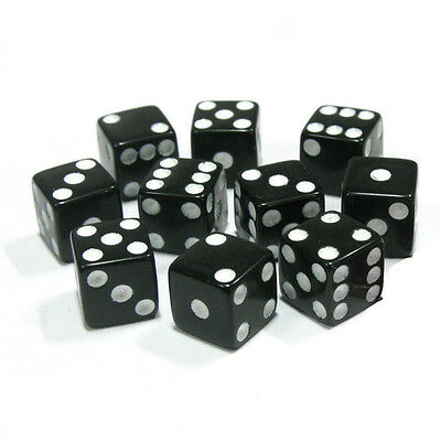 10PCS  Six Sided Square Opaque 16mm D6 Dice - Black with White Pip Die