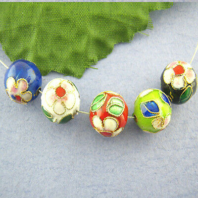 12mm Mixed-color Chinese Enamel Cloisonne Metal Round Craft Beads