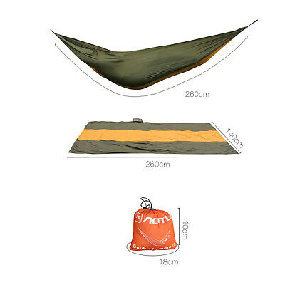 Portable 2 Person Travel Camping Outdoor Parachute Hammock Nylon Fabric Ca