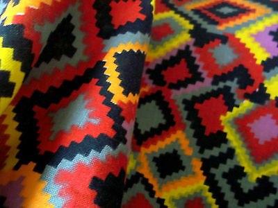 Huge vintage abstract Aztec design cotton linen fabric yardage with orig. tag!