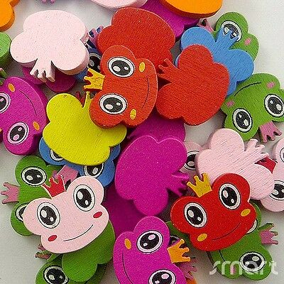 50pcs Mixed Colors Frog Prince Cartoon Wooden Beads Lot Craft Jewelry Making