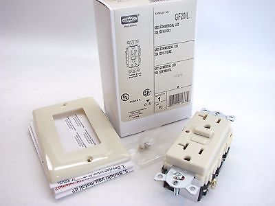 New Hubbell GF20IL Ivory Commercial Grade GFCI With LED Indicator 125V 20A t32