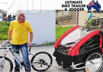 2IN1 Twin Baby Bike Trailer Bicycle Trailer Riding Carrier With Bike Attachment