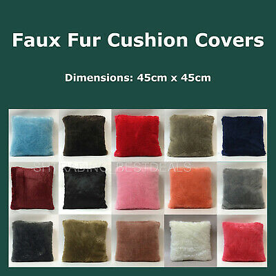 Super Soft Plain Solid Faux Fur Cushion with Insert or Cover Only Pillow Home