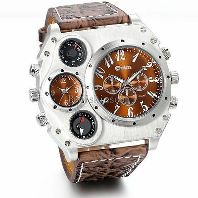 Fashion Quartz Sport Military Stainless Steel Dial Leather Band Mens Wrist Watch