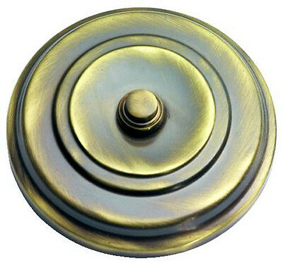 Solid Antique Brass Large Round Victorian style Door Bell Push / Switch (XL267)