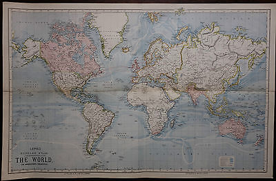 1883 Large Antique Map ~ Chart Of The World Mercators Projection Letts