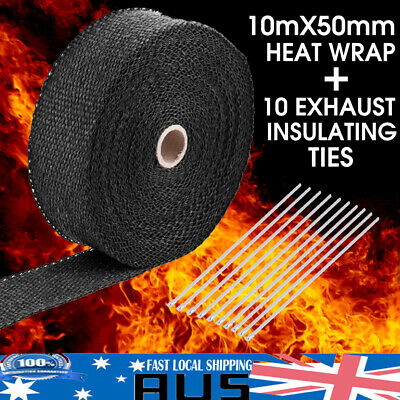 EXHAUST HEAT WRAP TITANIUM 10M X 50MM ROLL + 10 STAINLESS TIES -High Temp Tape