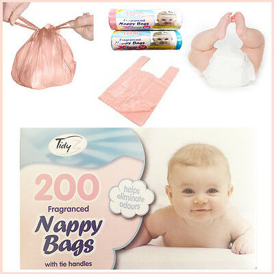 Disposable Baby Nappy Bags 100, 200 Fragranced Tie Handles Hygienic Diaper Sacks