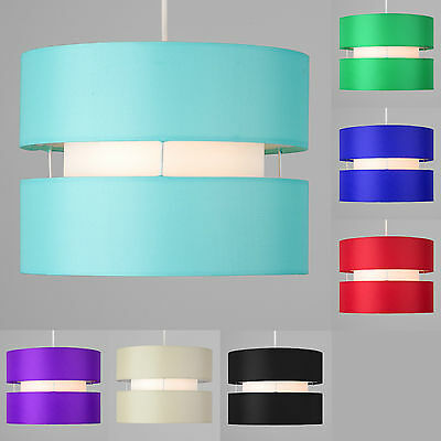 Modern 2 Tiered Cylinder Ceiling Pendant Light Shade Lounge Lighting Lampshade