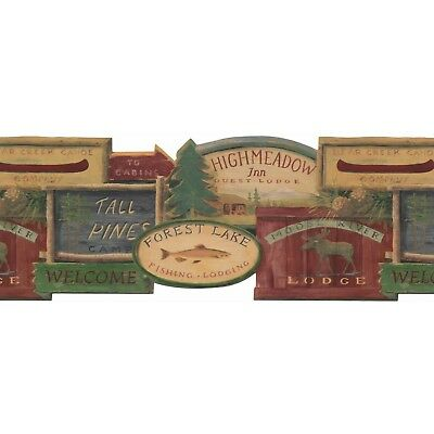 "Portfolio II Rustic Lodge Signs 15' x 9.75"" Scenic Border Wallpaper"
